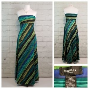 Alyn Paige S Green Blue Black Strapless Maxi Dress